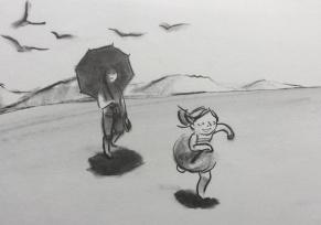 """Illustrazione di Suzy Lee, da """"L'onda"""". Corraini 2008"""