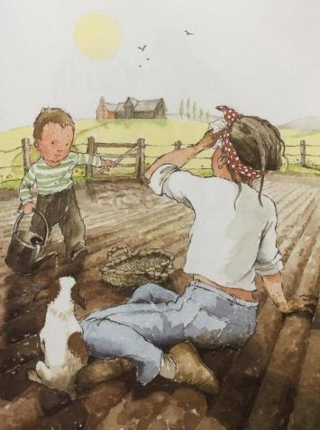 """Illustrazione di Helen Oxenbury, da """"Una storia che cresce"""". Il Castoro 2017"""
